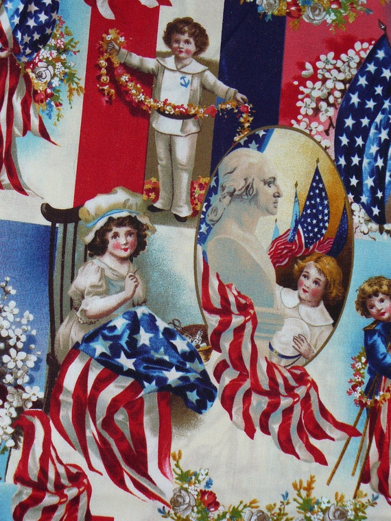 Patriotic Fabric Victorian Children Vintage Style Bty