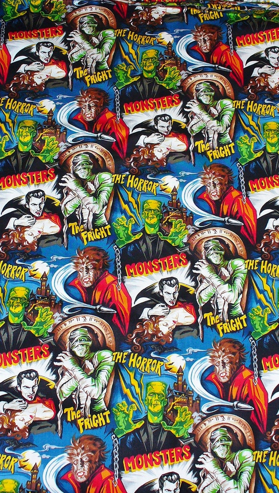 Horror movie monsters fabric robert kaufman frankenstein for Baby monster fabric