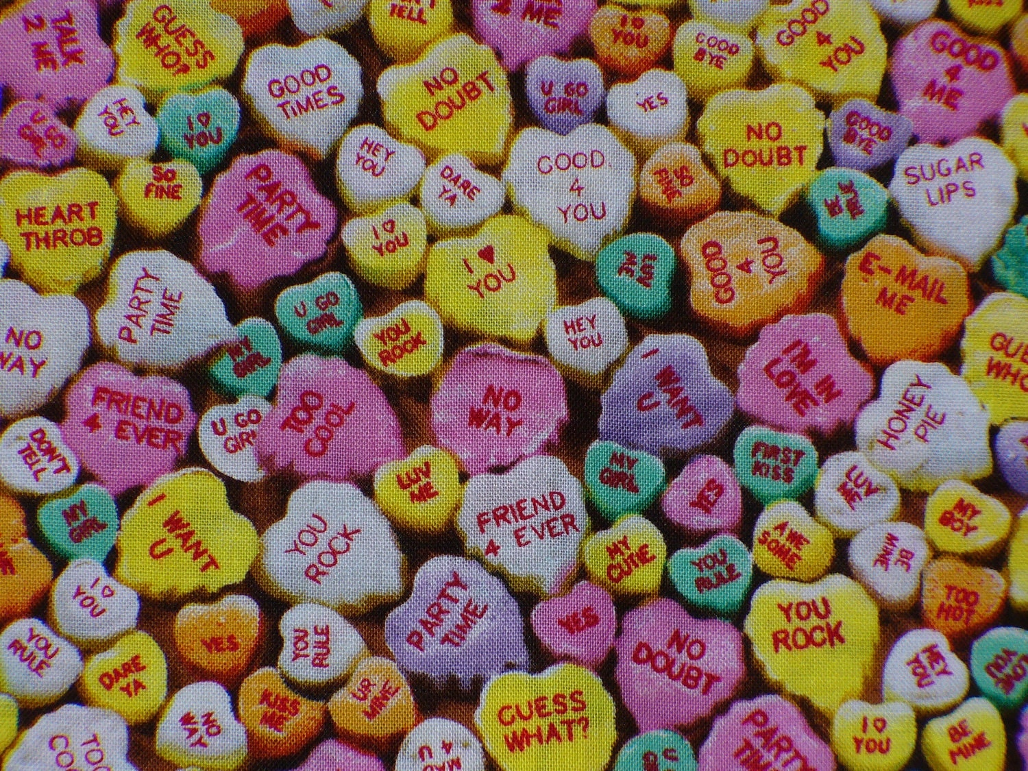 candy conversation hearts fabric    valentines fabric
