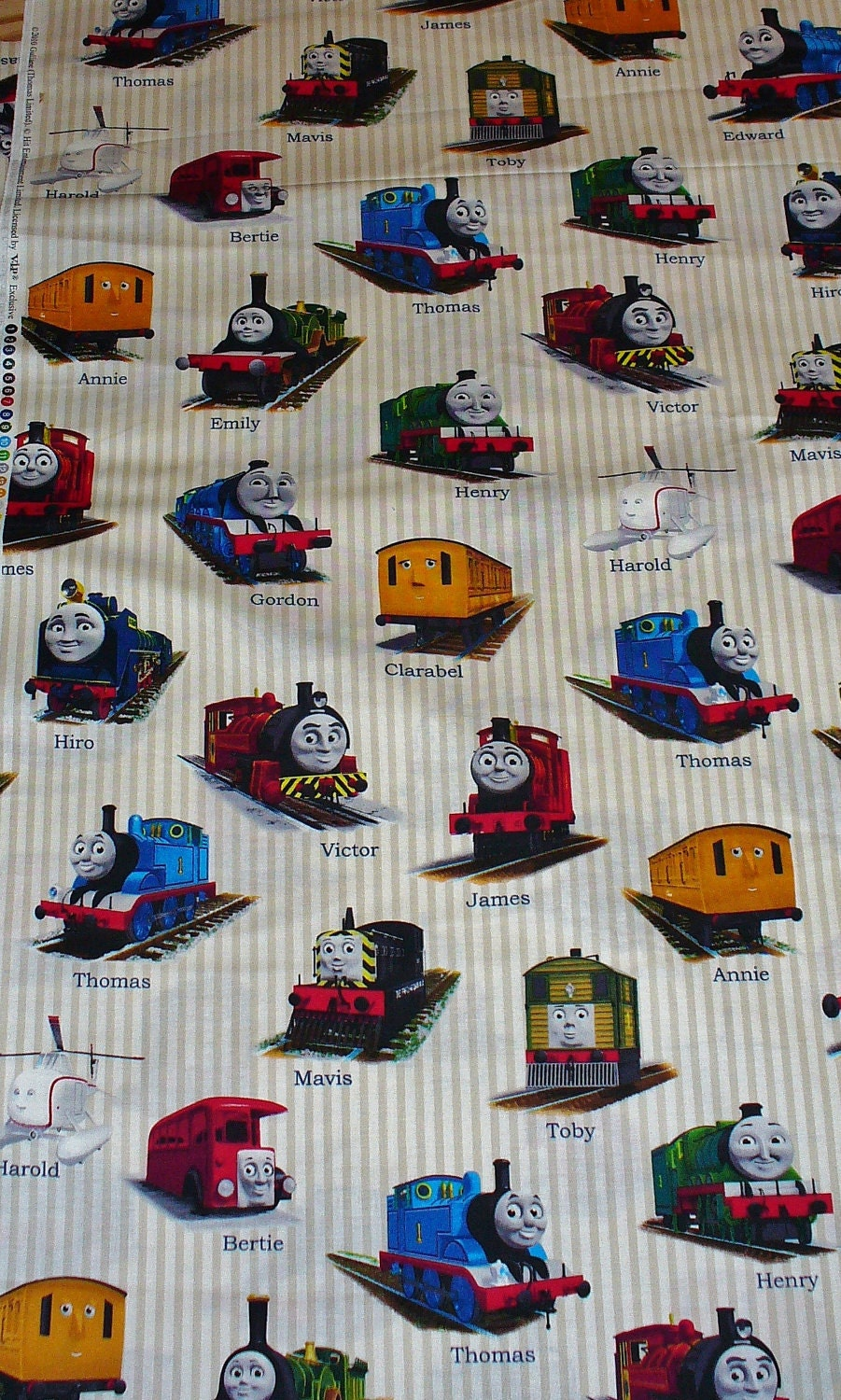 Thomas the train fabric gordon henry james bertie for Train fabric by the yard