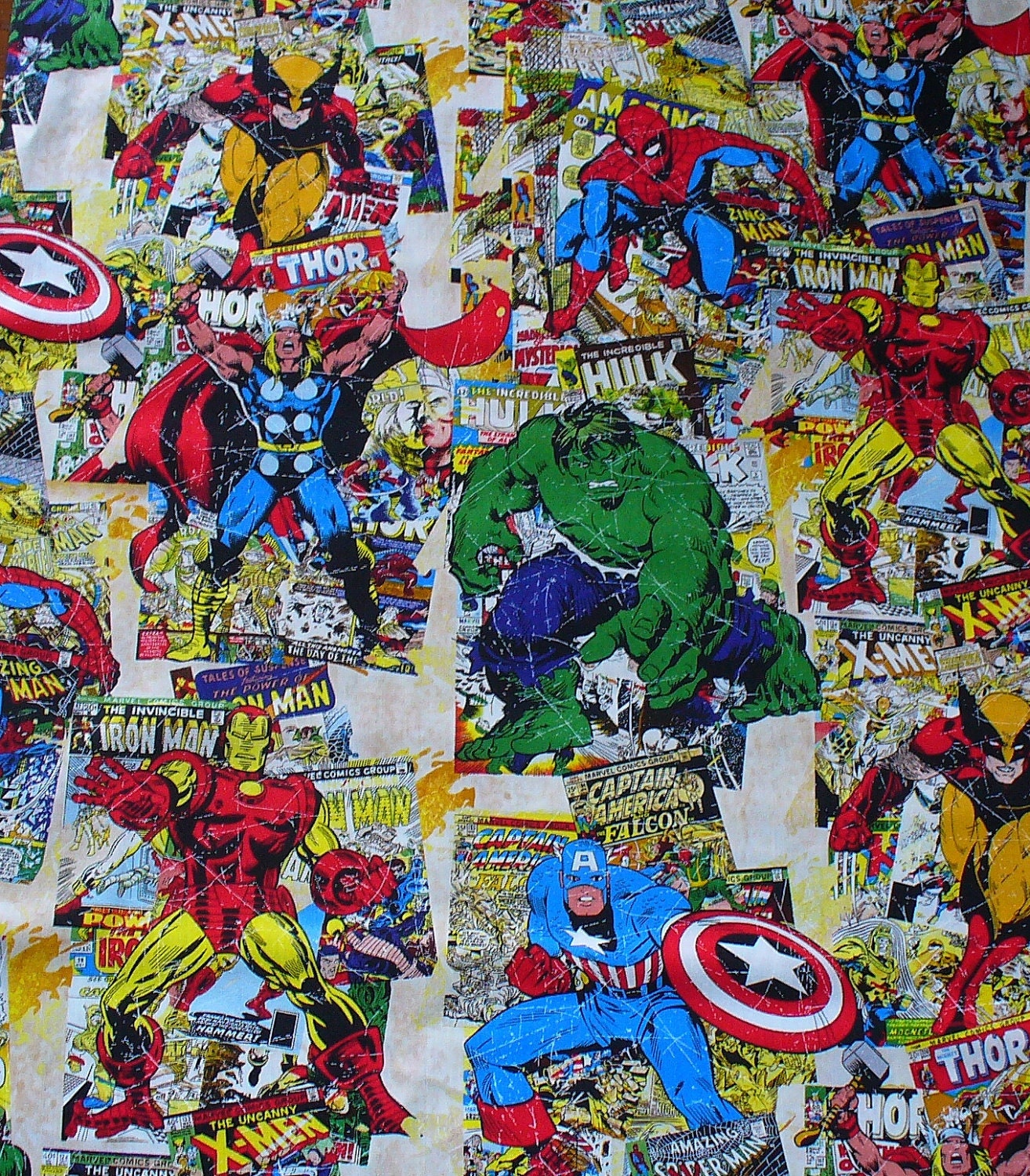 Comic Book Cover Material : Marvel comic book covers fabric by