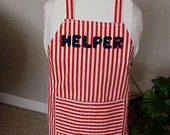 HELPER APRON Child Size Red & White Striped for Boy or Girl Ages 2 to 8