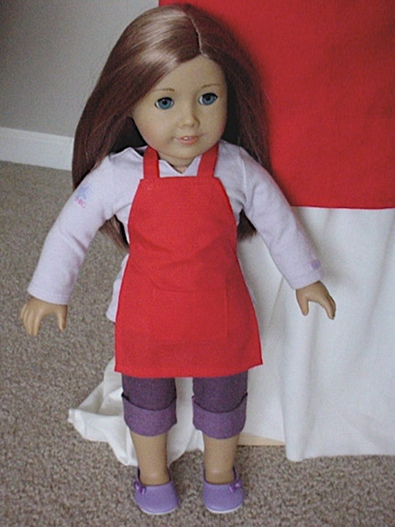 Red APRON American Girl DOLL Matches Childs & Adult Aprons