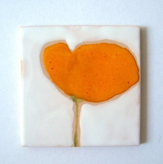 Yellow Sun Poppy Ceramic Tile