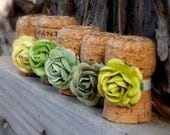 Chartreuse Champagne Cork Table Setting Place Card Holders for Wedding or Bridal Shower made from recycled champagne corks, Set of 10