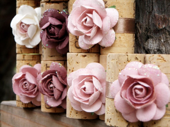 Reserved for Marissa - Vintage Plum Place Card Holders - SAMPLE, Repurposed Wine Corks for Wedding Reception or Bridal Shower