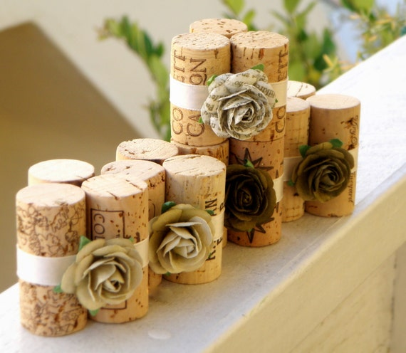 Wedding Place Card Holders in Tuscan Olive, Set of 10, Repurposed Wine Corks for Wedding Reception or Bridal Shower