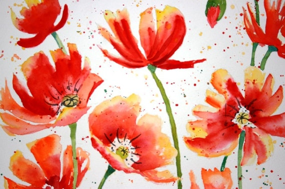 Watercolor Poppies Flower floral