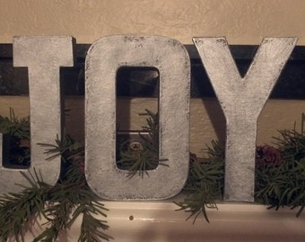 """Faux Metal Letters - Christmas Holiday  """"JOY"""" Sign - 8"""""""