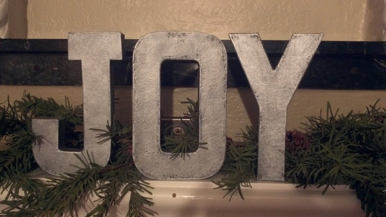 Faux metal letters christmas holiday joy by afreshcoatofpaint