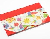 Mini file folder with elastic strap closure - handmade