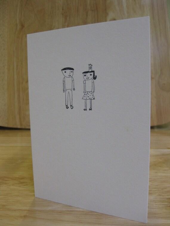Hand Stamped Boyfriend and Girlfriend Card