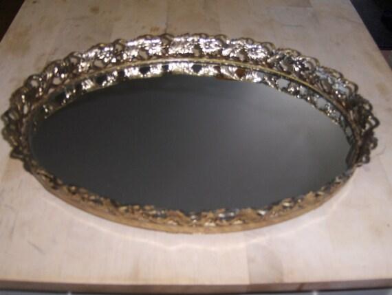 Vintage Dressor Mirror Tray- Brass-Oval