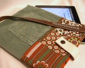 Retro iPad Bag Upcycled from Green Corduroy Jeans, Girls Patterned Pants, Brown Leather Belt
