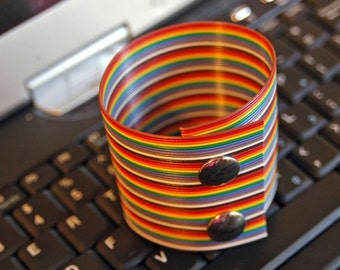 Wrist Cuff Made from Rainbow Computer Ribbon
