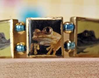 Frog Bracelet Repurposed from Scrabble Tiles, Plus Gators Too
