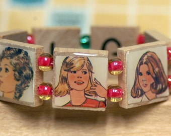 Glam Gals Bracelet with Images from Vintage Simplicity Sewing Catalog