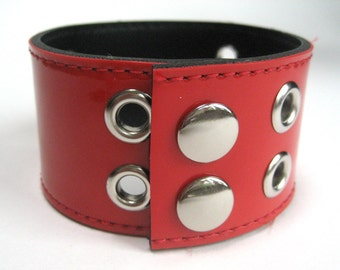 Cherry Red Fake Patent Leather Cuff for Men or Women, Upcycled from Belt