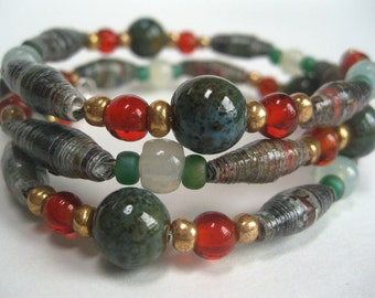 Paper Bead Bangle Bracelet, Marbleized Tones of Green, Grey, and Brown