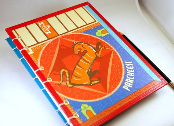 Handmade Journal Made from Parcheesi Board, with Tiger and Bull