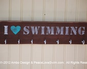 I Heart Swimming Wood Wall Plaque with Hooks for Awards - Medals - Ribbons  Customization & Personalization Available