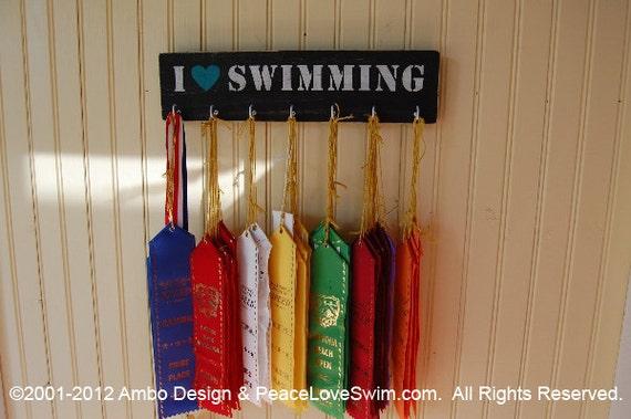 I Love Swimming Ribbon Hanger Display - Wood Wall Rack - Customization & Personalization Available