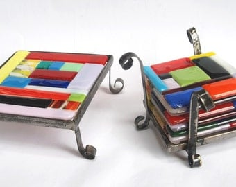 SALE !!! Hot-pot holder and set of glass coasters with stand handmade by dalit glass