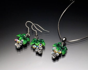 Silver and Enamel Grape necklace and earring set
