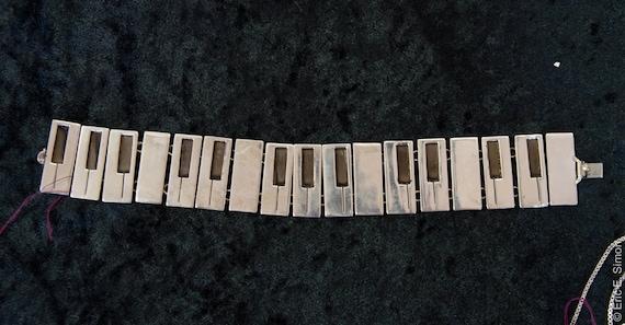 Sterling Silver Piano key  link mens bracelet