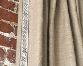 "84""L Burlap Knife Pleated Drapery Panel with Greek Key Trim- Custom"