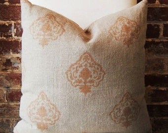 Brown Medallion Hand Print - Pillow Cover - 20 in square - Designer Pillow - Decorative Pillow - Throw Pillow