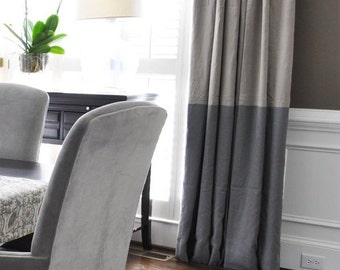"84""L Color Block Drapery Panel - custon curtains - 28 color options - Custom Draperies - Striped Panels"
