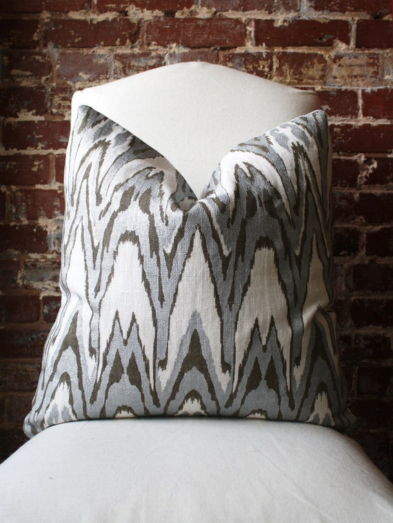 """Reserved for sbrown61 ----- Ikat - Silver and Bronze Hand Print on Natural Linen - Pillow Cover - 20""""x20"""""""