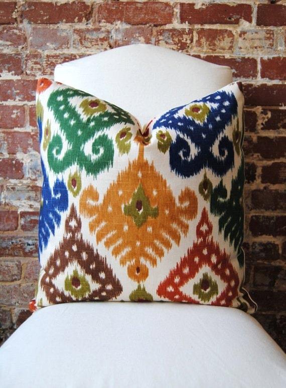 Vivid Ikat - Duralee Fabric -  Pillow Cover - 20 in square - Designer Pillow - Decorative Pillow - Throw Pillow