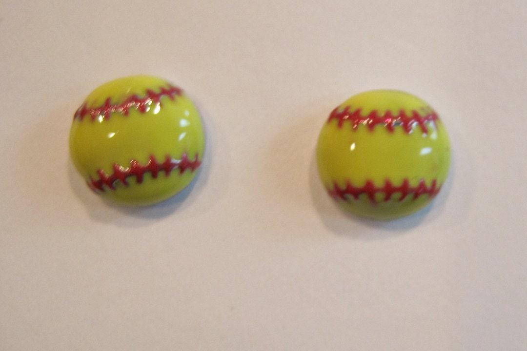 pink yellow softball stud earrings