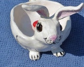 Lucky bunny rabbit (4 intact rabbit feet:) candy,soap or jewelry trinket,dish,or spoon rest, handmade in USA from a lump of clay and fired