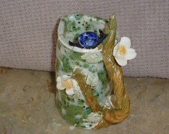 Sweet nature pitchers, Hand Made in USA, from a lump of clay  one of a kind