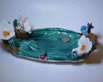 Sweet Soap dish or tray, plate or dish sculpted in USA from a lump of clay. Dogwood flowers, custom orders welcome!