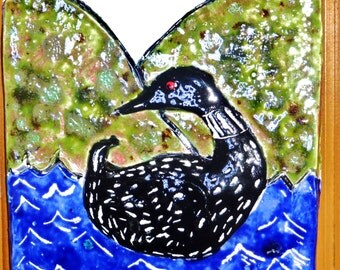 Loon Ceramic Textured Wall Tile handmade in USA from a lump of clay