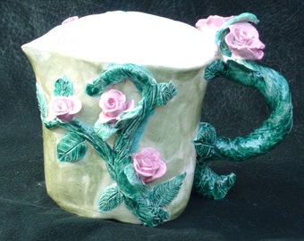 Rose Ceramic pitcher hand made in USA from a lump of clay