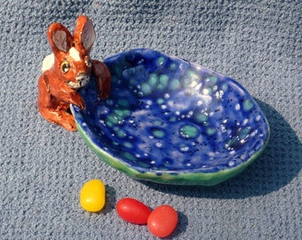 Whimsical bunny rabbit egg cup, trinket bowl, candy dish, jewelry holder hand made from a lump of clay Beautiful Glaze
