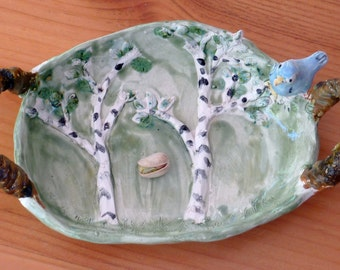 Soap Dish serving tray food bowl handmade in USA from a lump of clay birch trees and a blue bird perched on it. totally unique ooak