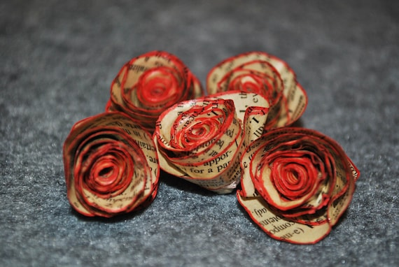 Vintage Dictionary Paper Flower with Red Trim