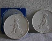 2 Vintage Porcelain Club Member Collector Medallions Goebel Hummel West Germany
