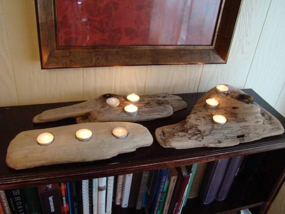 Driftwood tea light holder table centerpieces, set of 3