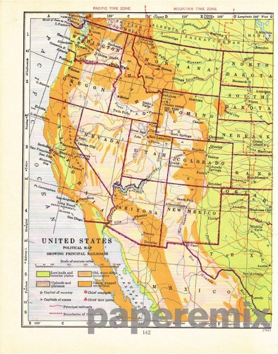 Items similar to Vintage Western US Map 1947 Political on Etsy
