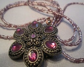 Lillian purple flower necklace set