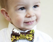 Toddler Bow Tie - Brown with Blue, Green, and White Floral