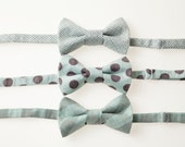 Toddler Bow Tie - Blue and Brown - Choose One