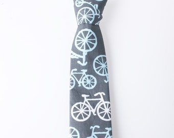 Toddler Necktie - Gray with Bicycles